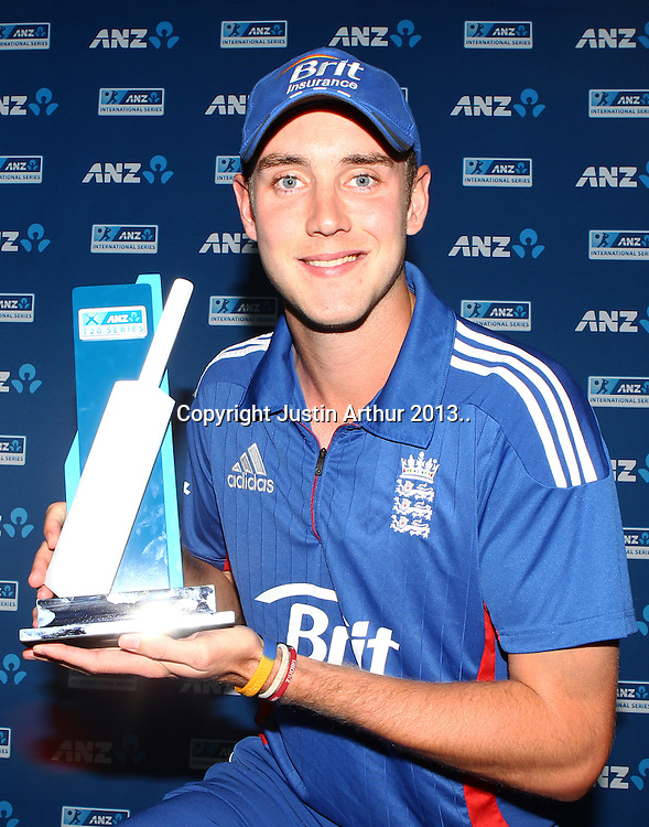 Stuart Broad with the ANZ trophy after winning the T20 series. ANZ T20 Series. 3rd Twenty20 Cricket International. New Zealand Black Caps v England at Westpac Stadium, Wellington, New Zealand on Friday 15th February 2013. Photo: Justin Arthur / photosport.co.nz