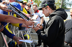 May 18, 2018 - Le Mans, France - Cal Crutchlow meet fans at Bugatti Circuit.during MotoGP Le Mans practice sessions in France  (Credit Image: © Gaetano Piazzolla/Pacific Press via ZUMA Wire)
