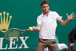 18.04.2012 Country Club, Monte Carlo, MON, ATP World Tour, Rolex Masters, 2. Runde, im Bild Gilles Simon (FRA) in action during the second round match between Gilles Simon (FRA) and Frederico Gil (POR) // at the Rolex Masters tennis tournament second Round of ATP World Tour at Country Club, Monte Carlo, Monaco on 2012/04/17. EXPA Pictures © 2012, PhotoCredit: EXPA/ Mitchell Gunn