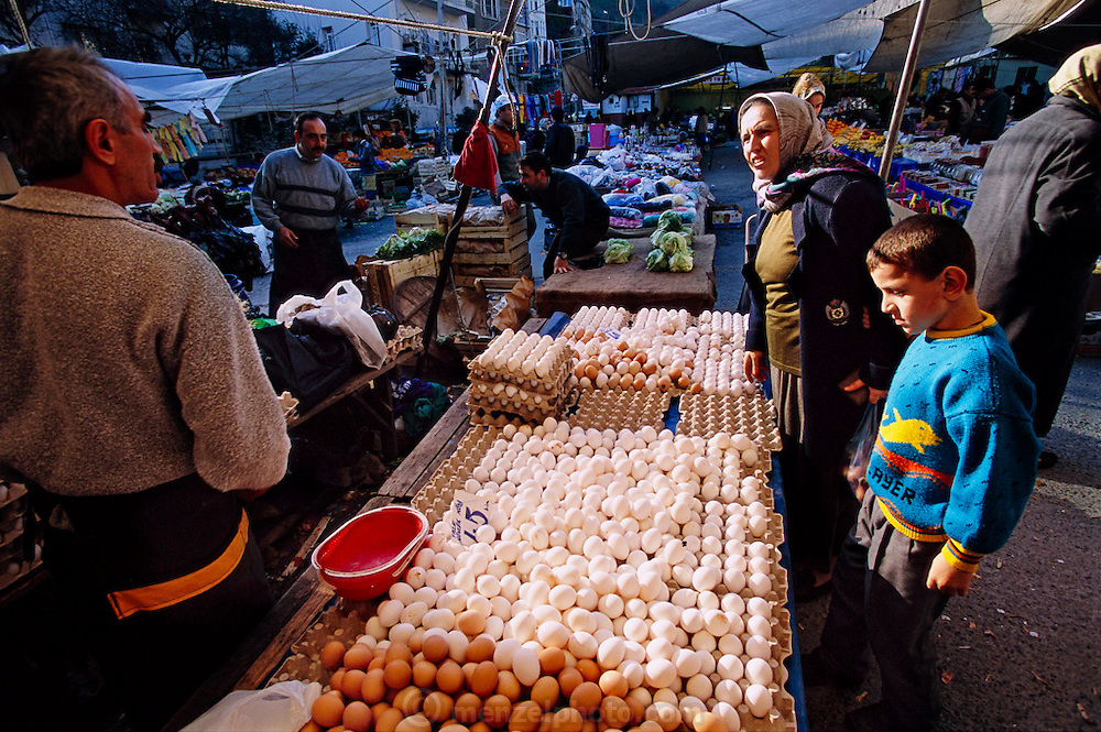 At a neighborhood open-air market in Turkey, near one of Melahat Çelik's housekeeping jobs, she and her son Aykut buy eggs. Hungry Planet: What the World Eats (p. 257). The Çelik family of Istanbul, Turkey, is one of the thirty families featured, with a weeks' worth of food, in the book Hungry Planet: What the World Eats.