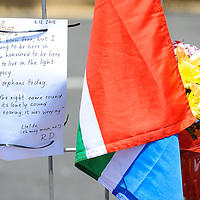 CAPE TOWN, SOUTH AFRICA - Saturday 7 December 2013, a message attached to the barricade during a time of national mourning the death of the first democratically elected president, Nelson Mandela, in front of the Cape Town City Hall.<br /> Photo by Roger Sedres/ImageSA