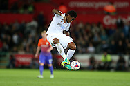 Leroy Fer of Swansea city controls the ball off the ground. EFL Cup. 3rd round match, Swansea city v Manchester city at the Liberty Stadium in Swansea, South Wales on Wednesday 21st September 2016.<br /> pic by  Andrew Orchard, Andrew Orchard sports photography.