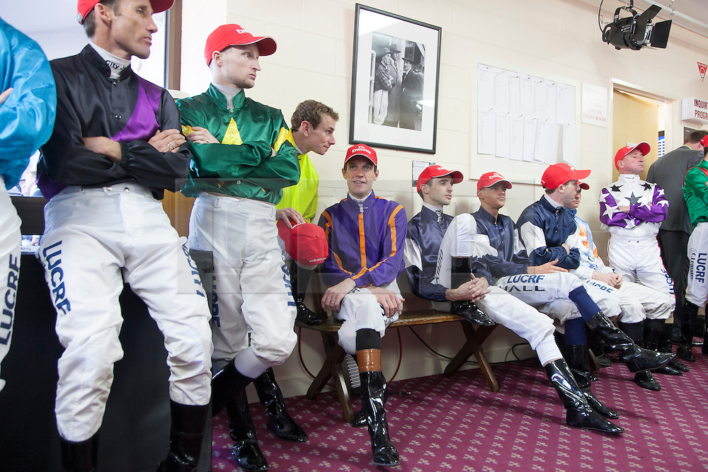 © Licensed to London News Pictures. 5/11/2013. Jockeys competing in race 7 the Emirates Melbourne Cup in the mounting yard about to head out for the race during Melbourne Cup Day at Flemington Racecourse on November 5, 2013 in Melbourne, Australia. Photo credit : Asanka Brendon Ratnayake/LNP