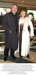 MR & MRS JOHN VIRGO he is the snooker player, at a reception in London on 11th March 2003.PHW 35
