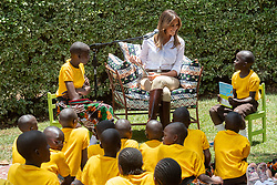 October 5, 2018 - Limuru, Kenya - First Lady Melania Trump walks with singing schoolchildren during her visit to The Nest: Children's Home in Limuru, Kenya. (Credit Image: ? Andrea Hanks/White House via ZUMA Wire/ZUMAPRESS.com)