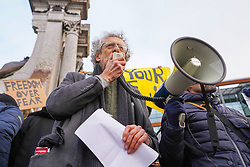 © Licensed to London News Pictures. 12/12/2020 Manchester, UK. Piers Corbyn makes a speech to the crowd  during  an anti-lockdown protest at Piccadilly Gardens in Manchester. Hundreds  of protesters gathered at Piccadilly Circus to protest against Covid-19 restrictions. Photo credit: Ioannis Alexopoulos/LNP