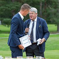 HILVERSUM - Floris Deckers, voorzitter Hilversumsche. met Matthias Schmid (Ger) Prizewinning ceremony.    ELTK Golf 2020 The Dutch Golf Federation (NGF), The European Golf Federation (EGA) and the Hilversumsche Golf Club will organize Team European Championships for men.  COPYRIGHT KOEN SUYK
