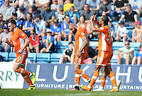 CELE - Blackpool's Nathan Delfouneso celebrates scoring his side's second goal <br /> <br /> Photographer Ashley Crowden/CameraSport<br /> <br /> The EFL Sky Bet League One - Gillingham v Blackpool - Saturday 21st April 2018 - Priestfield Stadium - Gillingham<br /> <br /> World Copyright © 2018 CameraSport. All rights reserved. 43 Linden Ave. Countesthorpe. Leicester. England. LE8 5PG - Tel: +44 (0) 116 277 4147 - admin@camerasport.com - www.camerasport.com