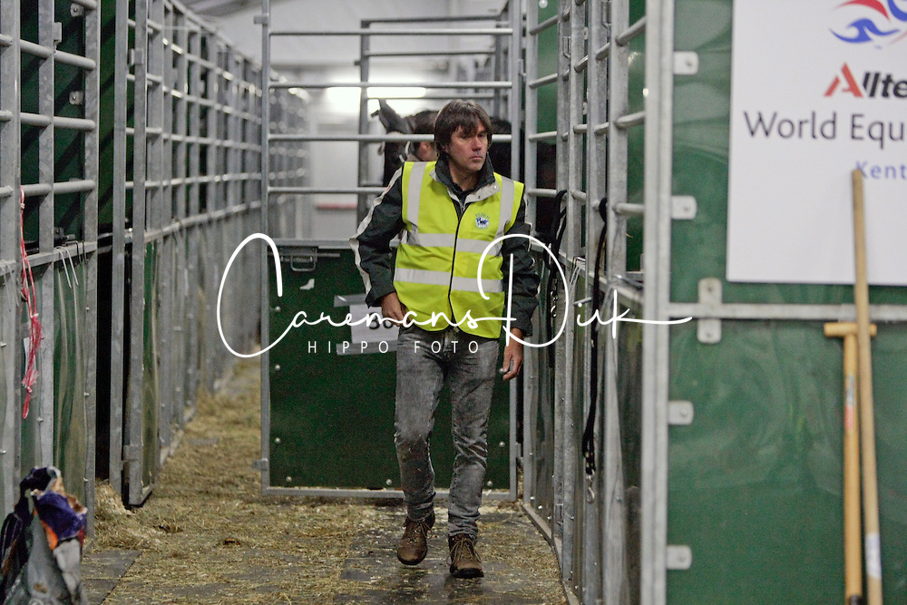 Arnould Pierre, chef d'equipe, groom and vet of the Belgian Endurance team<br /> Departure of the horses from Liege Airport to Lexington<br /> Alltech FEI World Equestrian Games - Kentucky 2010<br /> © Dirk Caremans
