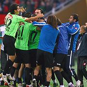 Konyaspor's Erdal KILICASLAN celebrate his goal with team mate during their Play Off Second leg match at AliSamiYen Stadium in Istanbul Turkey on Thursday, 20 May 2010. Photo by TURKPIX