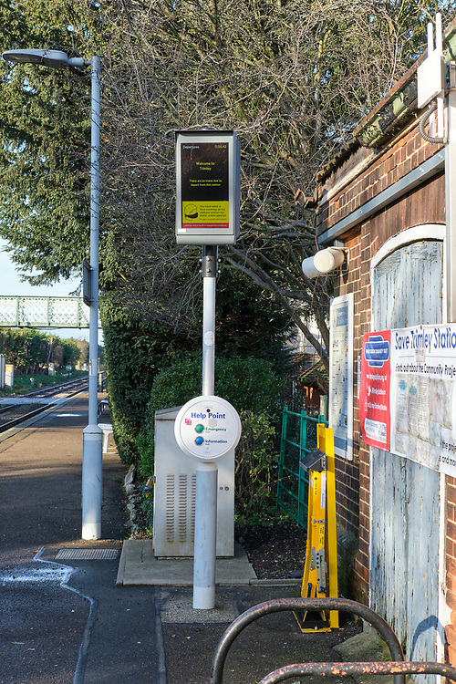 Platform 1 at Trimley Station on the branch line from Ipswich to Felixstowe. The sign shows no trains today from the platform & you should wear a face mask.<br /> <br /> Photo by Jonathan J Fussell, COPYRIGHT 2020