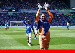 Rangers FC via Press Association Images<br /> Rangers goal keeper Wes Foderingham celebrates at the end during the Scottish Premiership match at at Ibrox Stadium, Glasgow.