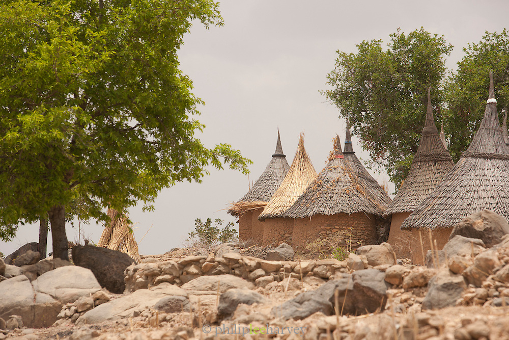 Huts on the outskirts of Djinglya village in the north of Cameroon