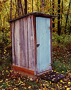 Outhouse for the McHenry Cabin built by LeRoi Heaven and Karl Kalb in 1972, Fariview Loop, Matanuska Valley, Alaska.