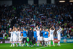 Players of Slovenian national team during the 2020 UEFA European Championships group G qualifying match between Slovenia and Israel at SRC Stozice on September 9, 2019 in Ljubljana, Slovenia. Photo by Grega Valancic / Sportida