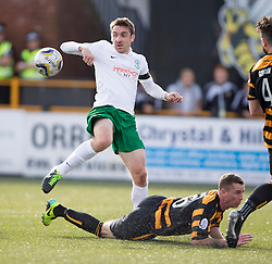 Hibernian's Paul Heferman and Alloa Athletic's Stephen Simmons.<br /> Alloa Athletic 2 v 1 Hibernian, Scottish Championship game played 30/8/2014 at Alloa Athletic's home ground, Recreation Park, Alloa.