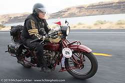 Bartek Mizerski riding his 1928 Indian Scout in the Motorcycle Cannonball coast to coast vintage run. Stage 14 (303 miles) from Spokane, WA to The Dalles, OR. Saturday September 22, 2018. Photography ©2018 Michael Lichter.