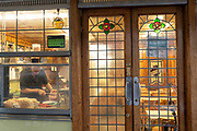 E Pellicci traditional Italian run family cafe on the 20th September 2019 in London in the United Kingdom. E Pellicci cafe is on Bethnal Green Road and has been trading since 1900.