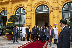 February 27, 2019 - Hanoi, Vietnam - Vietnamese President NGUYEN PHU TRONG escorts U.S President DONALD TRUMP on departure following the signing of Commercial Trade agreements at the Presidential Palace in Hanoi, Vietnam. (Credit Image: © Shealah Craighead/The White House via ZUMA Wire)