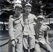 happy students group portrait Japan ca 1940s
