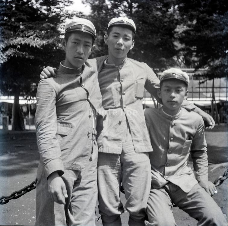 happy students group portrait Japan ca 1940s