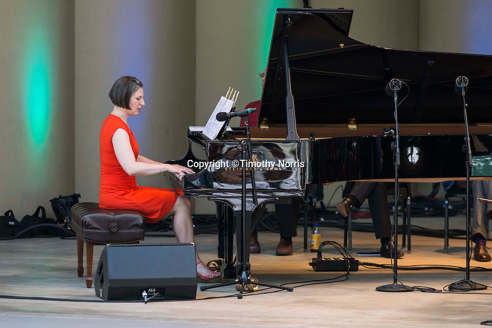"""Pianist Lisa Kaplan performs """"Canonade"""" a melange of musical canons devised by Jeremy Denk with music by Josquin,  Mozart, Schumann, Kurtág, P.D.Q. Bach, Isham, Purcell, Stanchinsky, Beethoven, Haydn, Uri Caine and J.S. Bach at the 68th Ojai Music Festival at Libbey Bowl on June 15, 2014 in Ojai, California."""