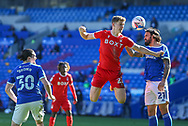 Nottingham Forest's Ryan Yates (22) competes for a high ball with Cardiff City's Marlon Pack (21) during the EFL Sky Bet Championship match between Cardiff City and Nottingham Forest at the Cardiff City Stadium, Cardiff, Wales on 2 April 2021.