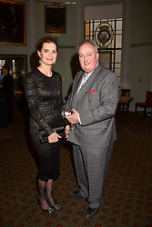Andrea Webb and the 11th Duke of Rutland at a party to celebrate the publication of Resolution by The Duke of Rutland and Emma Ellis held at Trinity House, Tower Hill, London England. 10 April 2017.