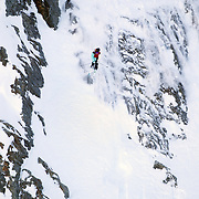 Freeskier Hank Bilous of New Zealand in action during the World Heli Challenge Extreme Day at Mount Albert on Minaret Station, Wanaka, New Zealand. 1st August 2011