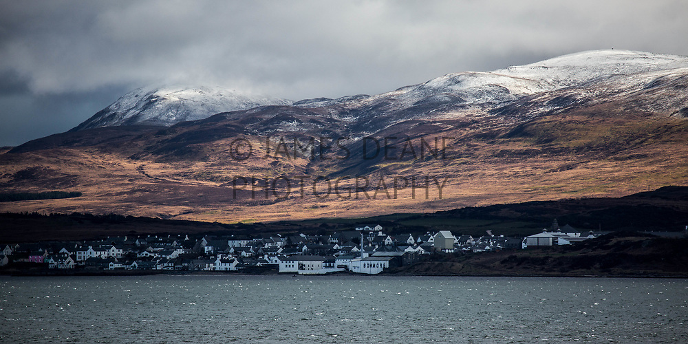 A telephoto view of Bowmore across Loch Indaal from Bruichladdich, Islay