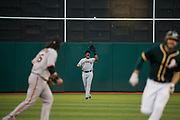 San Francisco Giants right fielder Carlos Moncrief (39) catches a pop fly against the Oakland Athletics at Oakland Coliseum in Oakland, California, on July 31, 2017. (Stan Olszewski/Special to S.F. Examiner)