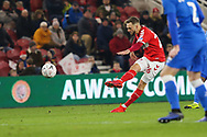 Middlesbrough midfielder Lewis Wing (26) scores his team's third goal during The FA Cup 3rd round match between Middlesbrough and Peterborough United at the Riverside Stadium, Middlesbrough, England on 5 January 2019.