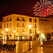 Fireworks in Fondi, Italy, as seen from a square next to the Baronal Castle.