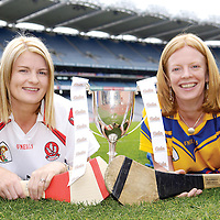 4 September 2007; Junior captains Claire Doherty, from Slaughtneill, Derry, and Deirdre Murphy, from Clooney, Clare, met at a photocall ahead of the Gala All-Ireland Senior and Junior Camogie Championship Finals, which will be taking place on Sunday the 9th September 2007. Croke Park, Dublin. Picture credit:  Brian Lawless / SPORTSFILE *** NO REPRODUCTION FEE ***