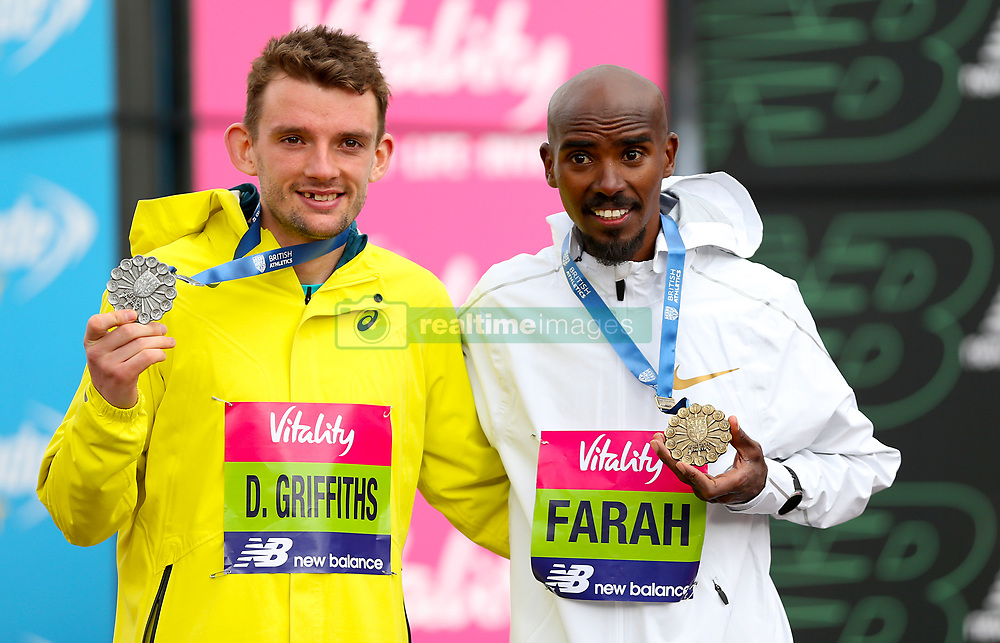 Mo Farah winner of the British Half Marathon Championships (right) and Dewi Griffiths who finished in second place during the Vitality Big Half in London.