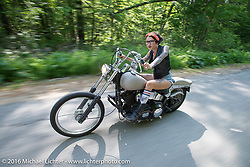 Kissa Von Addams of the Iron Lilies out riding during Laconia Motorcycle Week 2016. NH, USA. Sunday, June 19, 2016.  Photography ©2016 Michael Lichter.