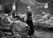 Florence Nightingale (1820 -1910) English nurse, in the barrack hospital at Scutari during the Crimean War (1853-56). Wood engraving c1880.