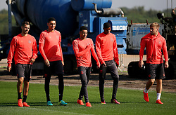 Morgan Schneiderlin, Chris Smalling, Jesse Lingard, Marcus Rashford and Luke Shaw of Manchester United walk to the training pitch - Mandatory by-line: Matt McNulty/JMP - 14/09/2016 - FOOTBALL - Manchester United - Training session ahead of Europa League Group A match against Feyenoord
