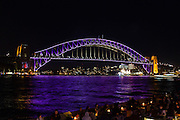 View of Sydney Harbour Bridge during Vivid Sydney 2016