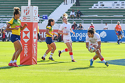 Bianca Farella of Canada scores a try<br /> <br /> Photographer Craig Thomas/Replay Images<br /> <br /> World Rugby HSBC World Sevens Series - Day 2 - Friday 6rd December 2019 - Sevens Stadium - Dubai<br /> <br /> World Copyright © Replay Images . All rights reserved. info@replayimages.co.uk - http://replayimages.co.uk