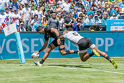 July 22, 2018 - San Francisco, CA, U.S. - SAN FRANCISCO, CA - JULY 22: New Zealand's Dylan Collier touches the ball down for a try during the semifinal match between New Zealand and Fiji at the Rugby World Cup Sevens on July 22, 2018 at AT&T Park in San Francisco, CA. (Photo by Bob Kupbens/Icon Sportswire) (Credit Image: © Bob Kupbens/Icon SMI via ZUMA Press)