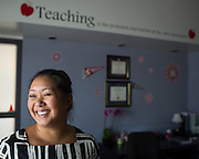 Principal Trisha Lee poses for a portrait in her office during the first day of school at Zanker Elementary School in Milpitas, California, on August 19, 2013. (Stan Olszewski/SOSKIphoto)
