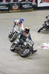 Flat Out Friday flat track break-less class racing on the Dr. Pepper-covered track in the UW-Milwaukee Panther Arena during the Harley-Davidson 115th Anniversary Celebration event. Milwaukee, WI. USA. Friday August 31, 2018. Photography ©2018 Michael Lichter.