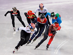 February 17, 2018 - Gangneung, South Korea - Short track speed skater Minjeong Kor of Korea, Jorien Ned of the Netherlands, and Kim Boudin of Canada compete during the Ladies Short Track Speed Skating 1500M finals at the PyeongChang 2018 Winter Olympic Games at Gangneung Ice Arena on Saturday February 17, 2018. (Credit Image: © Paul Kitagaki Jr. via ZUMA Wire)