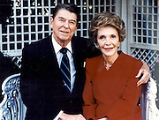 March 6, 2016 - NANCY REAGAN, Ronald Reagan's widow and First Lady from 1981-1989, has died at 94. The cause of death was congestive heart failure. Pictured: Nov 16, 1988. Washington, DC, U.S. - RONALD WILSON REAGAN with wife NANCY DAVIS REAGAN embrace for a photo, on a day that the two would host British PM Thatcher at the White House.<br /> ©Michael Evans/Exclusivepix Media