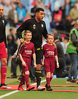 Football - 2019 Emirates FA Cup Final - Manchester City vs. Watford<br /> <br /> ELTON JOHN'S children lead the Watford team out onto the pitch with Captain Troy Deeney against Manchester City. Zachary,  and his brother Elijah at Wembley Stadium.<br /> <br /> COLORSPORT/ANDREW COWIE