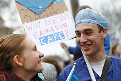 © Licensed to London News Pictures. 06/02/2016. London, UK. Junior doctors and NHS staff staging a protest in central London ahead of a 24-hour walkout due to begin on Wednesday as a result of the proposed contract changes offered by the government to junior doctors, on Saturday, 6 February 2016. Photo credit: Tolga Akmen/LNP