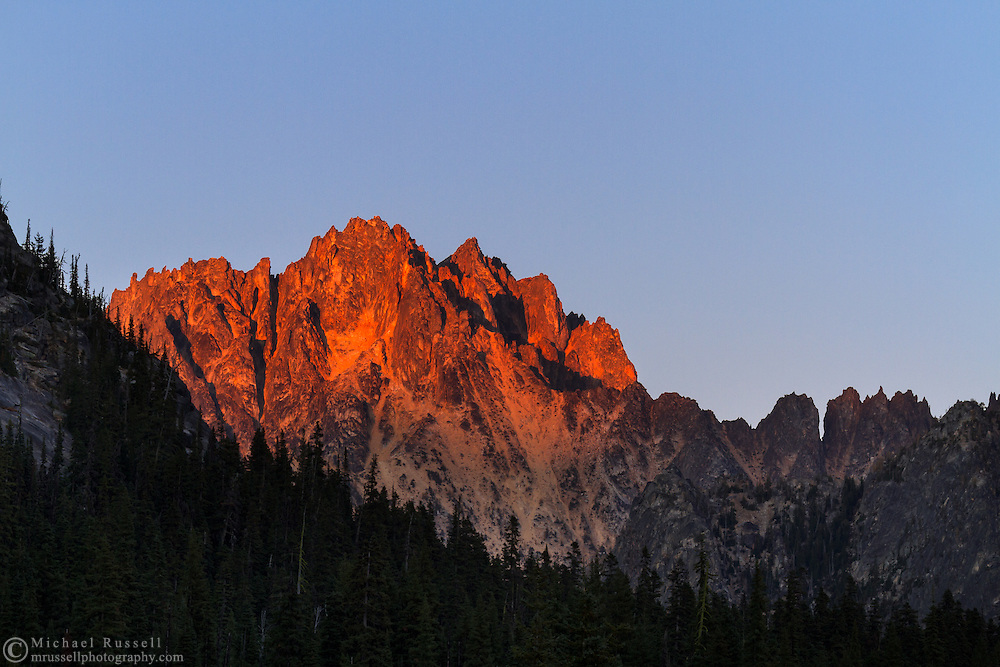 Alpenglow on Silver Star Mountain from Washington Pass in the North Cascades of the Okanogan-Wenatchee National Forest in Washington State, USA.