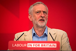 © Licensed to London News Pictures. 14/04/2016. London, UK. Leader of the Labour Party JEREMY CORBYN delivers a speech arguing the case for Britain remaining in Europe, at Senate House in London. The Uk is due to vote in and in out referendum in their membership of the EU on June 23rd, 2016.  Photo credit: Ben Cawthra/LNP