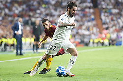 September 19, 2018 - Madrid, Spain - Real Madrid Francisco Alarcon 'Isco' and A.S. Roma Alessandro Florenzi during UEFA Champions League match between Real Madrid and A.S.Roma at Santiago Bernabeu Stadium in Madrid, Spain. September 19, 2018. (Credit Image: © Coolmedia/NurPhoto/ZUMA Press)